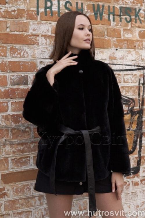 продукція виробника ХутроСвіт Тисмениця 2021 Півшубок з коміром стійка із канадської норки чорного кольору, фото 3