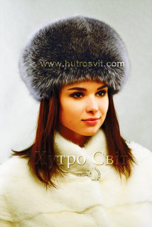 продукция производителя  ХутроСвіт Тисмениця 2021 Женская шапка цвета графит, модель, фото 1