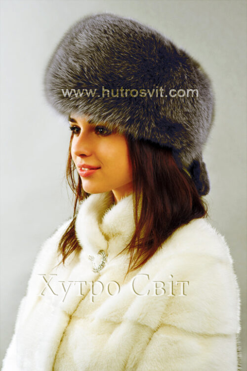 продукция производителя  ХутроСвіт Тисмениця 2021 Женская шапка цвета графит, модель, фото 3
