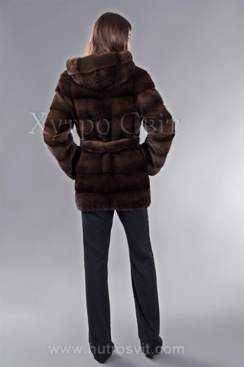 Полушубок из скандинавской норки орех высшего качества, поперечка, капюшон и пояс, фото 2