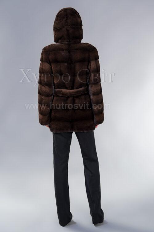 Полушубок из скандинавской норки орех высшего качества, поперечка, капюшон и пояс, фото 5