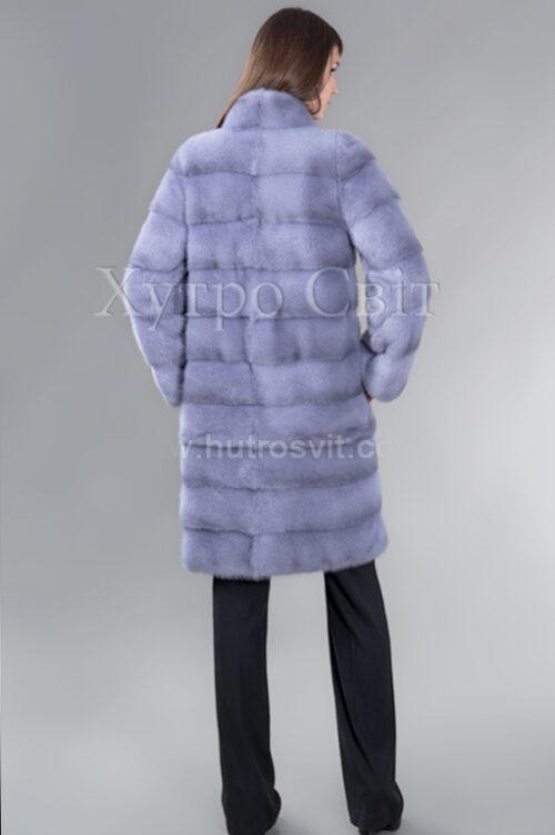 Шуба голубая норка, поперечный пошив, воротник стойка, фото 3