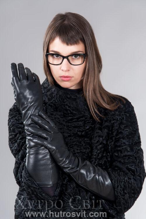 продукция производителя  ХутроСвіт Тисмениця 2021 Зимние длинные утепленные перчатки, фото 1