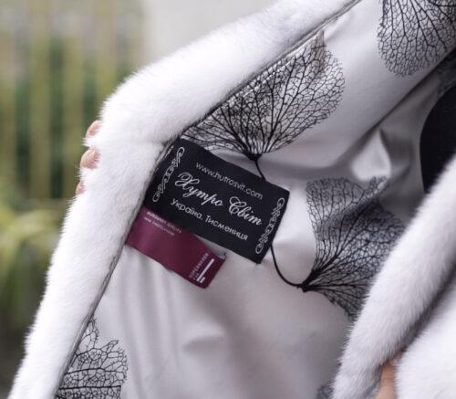 продукция производителя  ХутроСвіт Тисмениця 2021 Полушубок с капюшоном из элитной норки крестовки, фото 7
