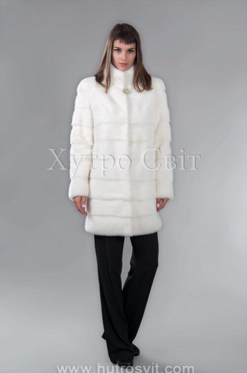 Шуба из белой норки, воротник стойка, поперечный пошив, фото 2