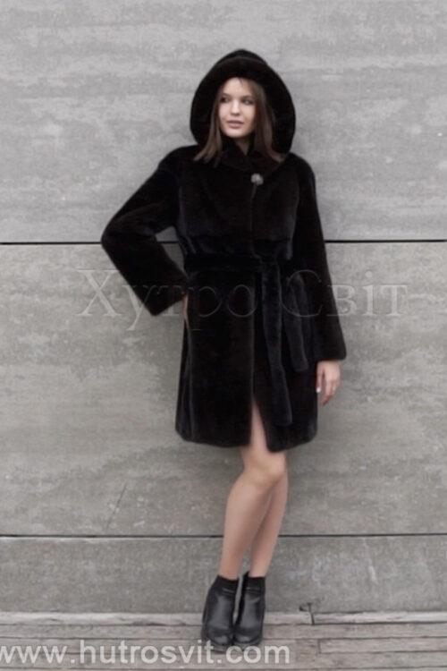 продукция производителя  ХутроСвіт Тисмениця 2021 Норковая шуба коричневого цвета модель пальто с капюшоном, фото 1