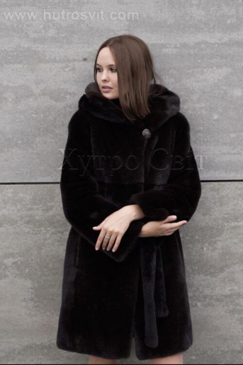 продукция производителя  ХутроСвіт Тисмениця 2021 Норковая шуба коричневого цвета модель пальто с капюшоном, фото 3