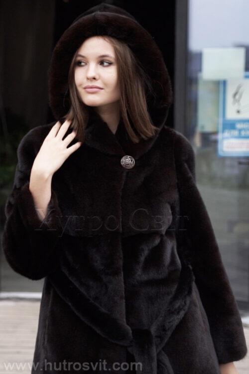 продукция производителя  ХутроСвіт Тисмениця 2021 Норковая шуба коричневого цвета модель пальто с капюшоном, фото 4
