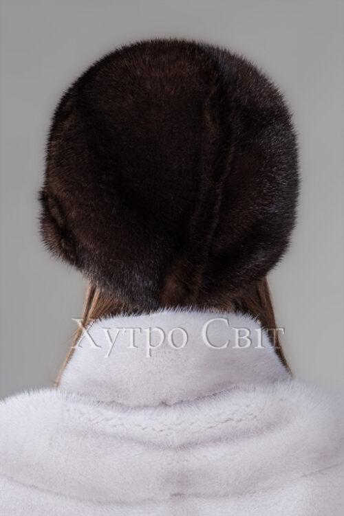 продукція виробника ХутроСвіт Тисмениця 2021 Шапка норкова жіноча кольору махагон, фото 3