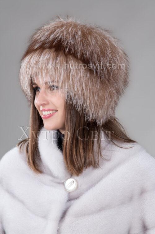продукція виробника ХутроСвіт Тисмениця 2021 Жіноча шапка чорнобурка висвітлена на трикотажі, фото 1