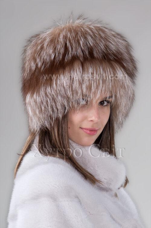 продукція виробника ХутроСвіт Тисмениця 2021 Жіноча шапка чорнобурка висвітлена на трикотажі, фото 2