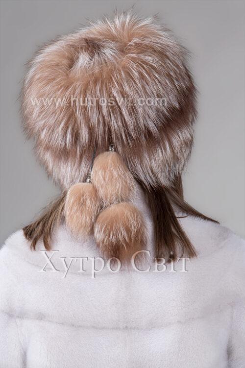 продукція виробника ХутроСвіт Тисмениця 2021 Жіноча шапка чорнобурка висвітлена на трикотажі, фото 3