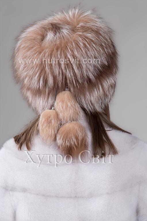 продукція виробника ХутроСвіт Тисмениця 2020 Жіноча шапка чорнобурка висвітлена на трикотажі Фото 3