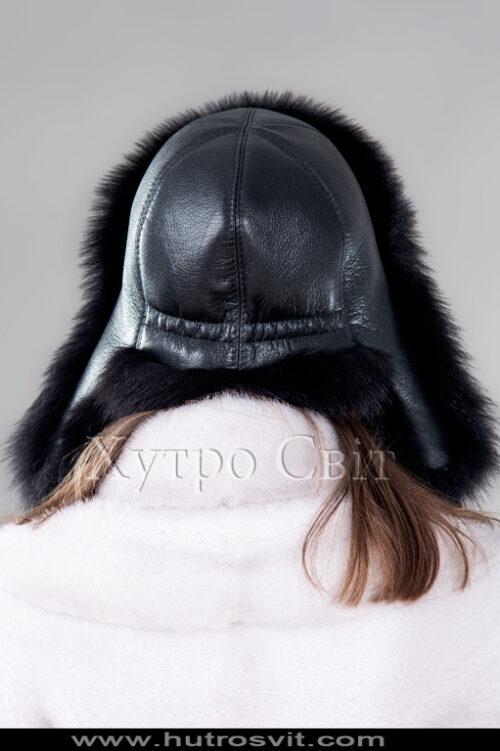 продукція виробника ХутроСвіт Тисмениця 2021 Шапка вушанка жіноча – чорний песець, фото 3