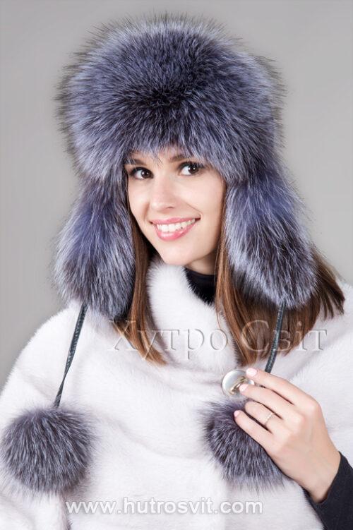 продукция производителя  ХутроСвіт Тисмениця 2021 Зимняя шапка ушанка из блу фроста, фото 1