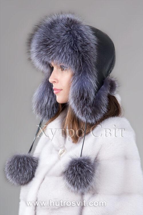 продукция производителя  ХутроСвіт Тисмениця 2021 Зимняя шапка ушанка из блу фроста, фото 2