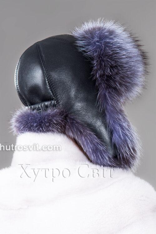 продукция производителя  ХутроСвіт Тисмениця 2021 Зимняя шапка ушанка из блу фроста, фото 4
