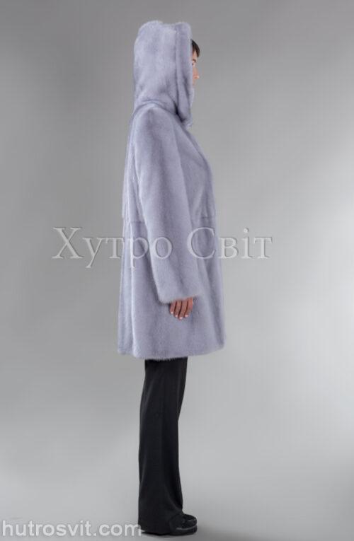 Шуба голуба норка, капюшон, класичне пошиття, фото 2