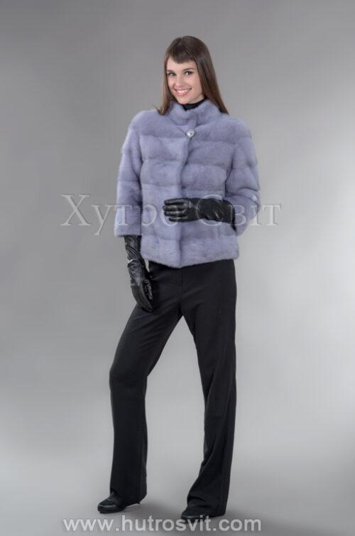 Стильний півшубок-курточка із голубої норки з коміром стійка, фото 1