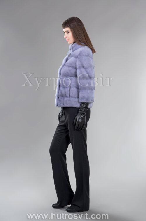 Стильний півшубок-курточка із голубої норки з коміром стійка, фото 2