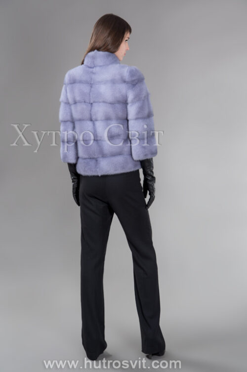 Стильний півшубок-курточка із голубої норки з коміром стійка, фото 3