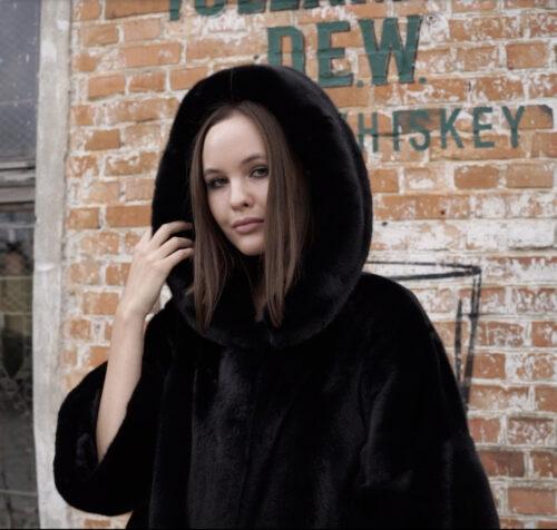 продукція виробника ХутроСвіт Тисмениця 2021 Норкова курточка півшубок з капюшоном із канадського хутра Нафа Фото 1
