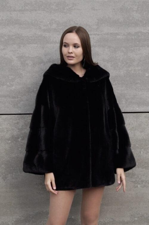 продукция производителя  ХутроСвіт Тисмениця 2021 Норковая курточка-полушубок с капюшоном из канадского меха Нафа Фото 1