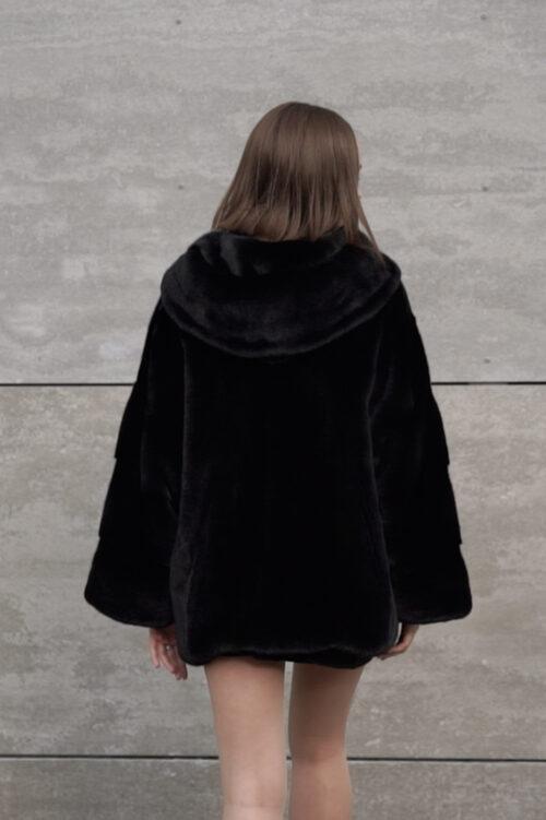 продукція виробника ХутроСвіт Тисмениця 2021 Норкова курточка півшубок з капюшоном із канадського хутра Нафа, фото 3