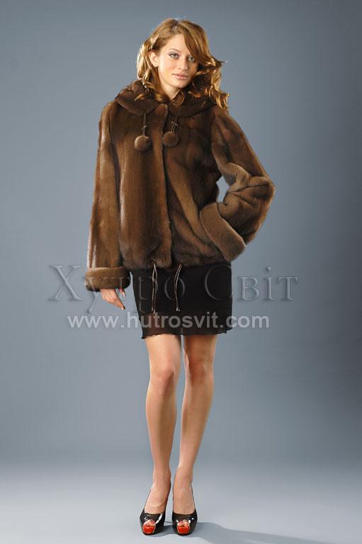 курточка із норки, куліска по низу, з капюшоном - норка скандинавська колір горіх Фото 1
