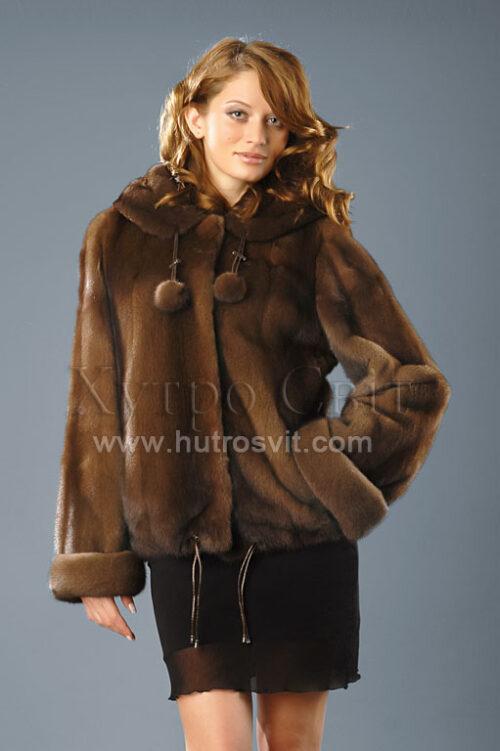 курточка півшубок із норки кольору горіх з капюшоном, фото 2