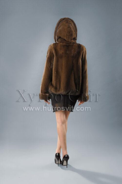 норкова курточка з капюшоном, куліска, горіх - хіт продаж, фото 3