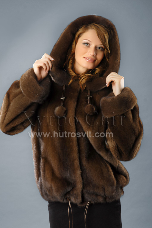 норка курточка куліска, капюшон горіх ціни у києві від хутросвіт Тисмениця Фото 4
