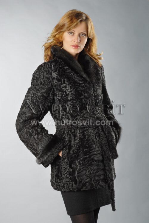 Півшубок каракуль, фасон курточка із норковим коміром Фото 1