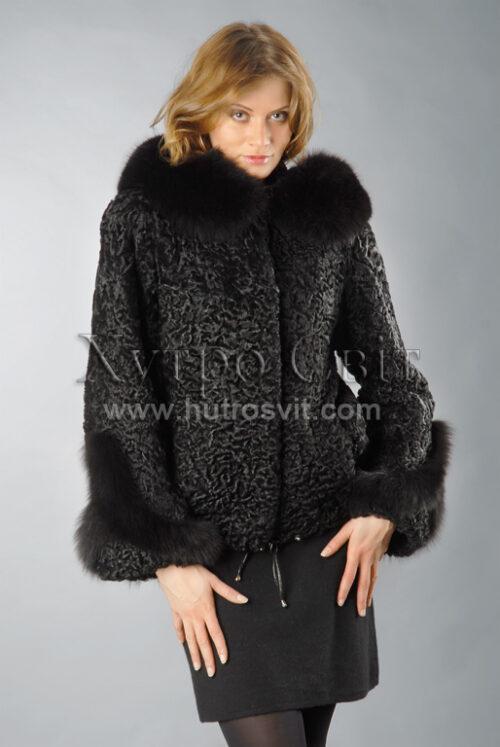 уби каракуль - модель курточка з капюшоном і песцевою опушкою, фото 2