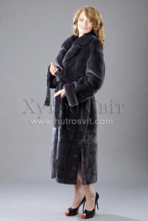 норкові шуби, модель пальто з двійним коміром, норка графіт Фото 1