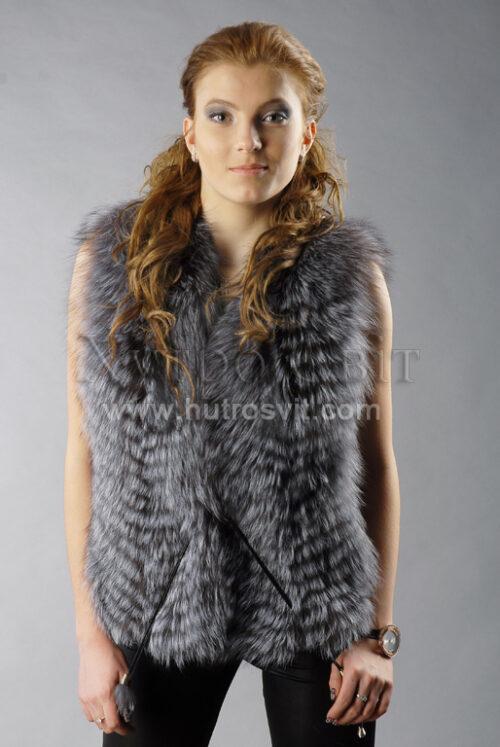 Хутряна жилетка з чорнобурки, пишний хутро сірого кольору ніколи не вийде з моди., фото 3