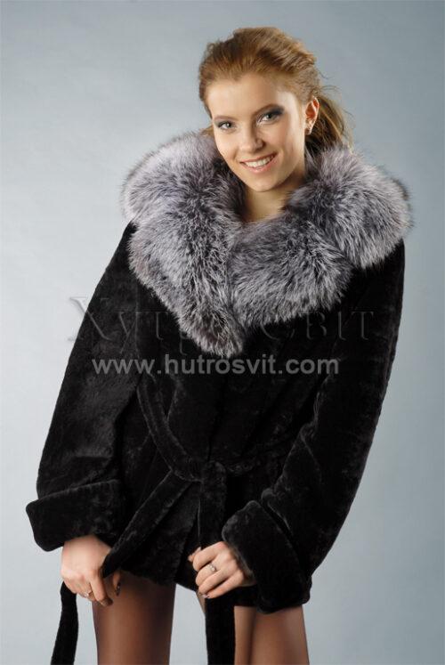 Шубы мутон. Курточка-полушубок, воротник из чернобурки, приталенность, пояс., фото 1