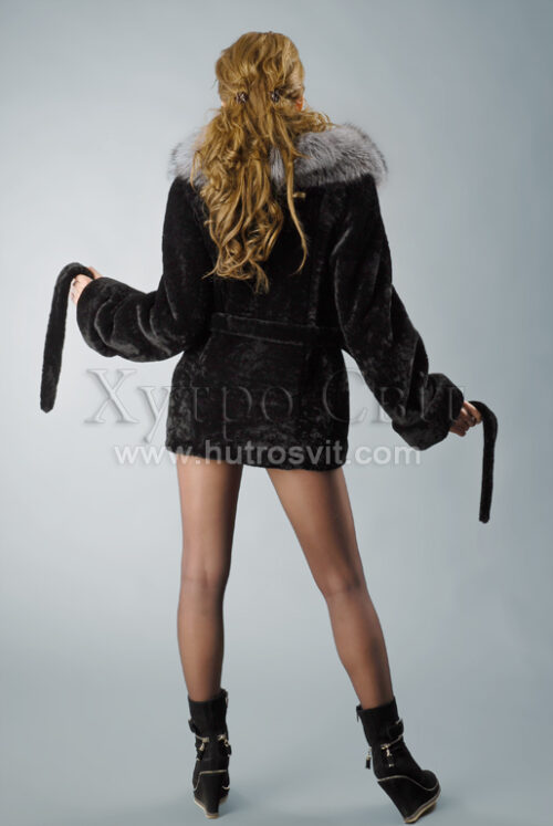 Шубы мутон. Курточка-полушубок, воротник из чернобурки, приталенность, пояс., фото 2