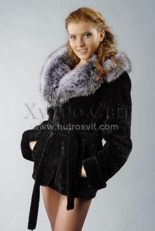 Шубы мутон. Курточка-полушубок, воротник из чернобурки, приталенность, пояс. Фото 1