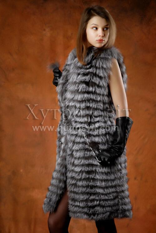 безрукавка - мех чернобурка, длина 105см Фото 1