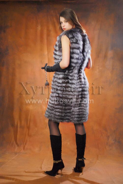 безрукавка - мех чернобурка, длина 105см, фото 3