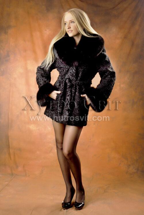 Півшубки каракуль.Модель курточка із песцевим коміром та манжетами, фото 1