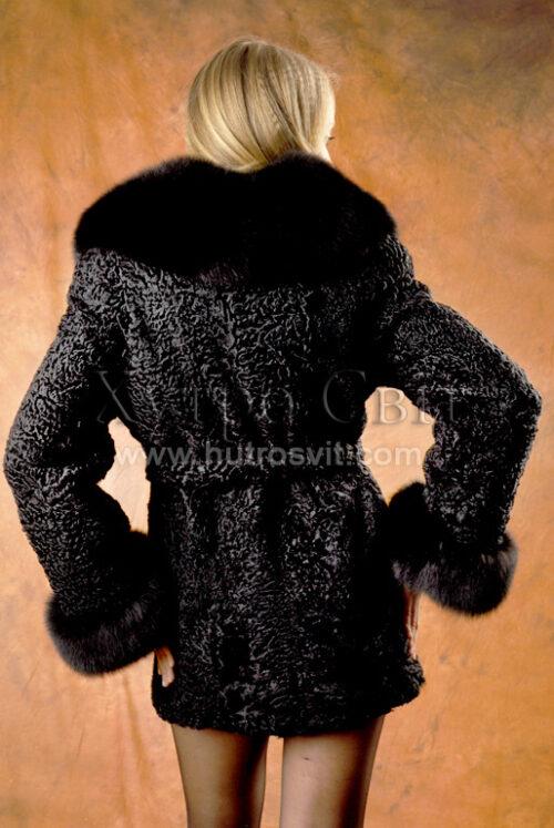 Півшубки каракуль.Модель курточка із песцевим коміром та манжетами, фото 2