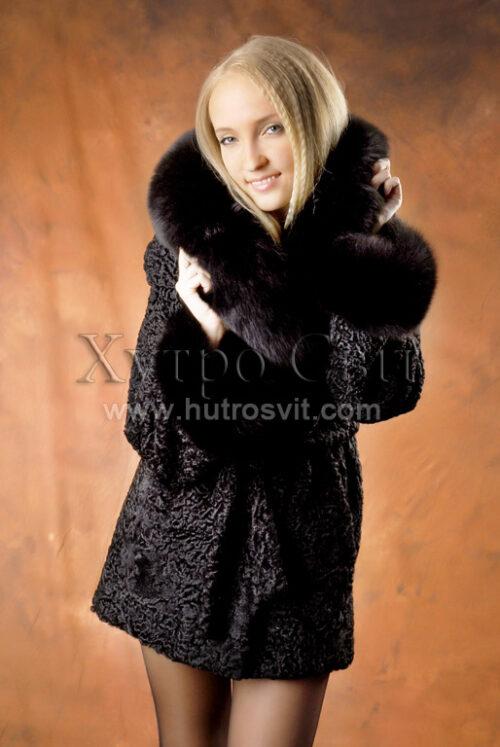 Півшубки каракуль.Модель курточка із песцевим коміром та манжетами, фото 3