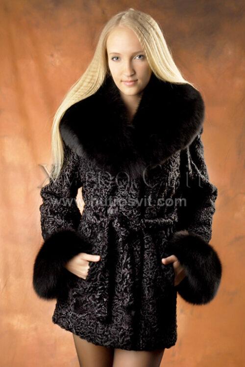 Півшубки каракуль.Модель курточка із песцевим коміром та манжетами, фото 4