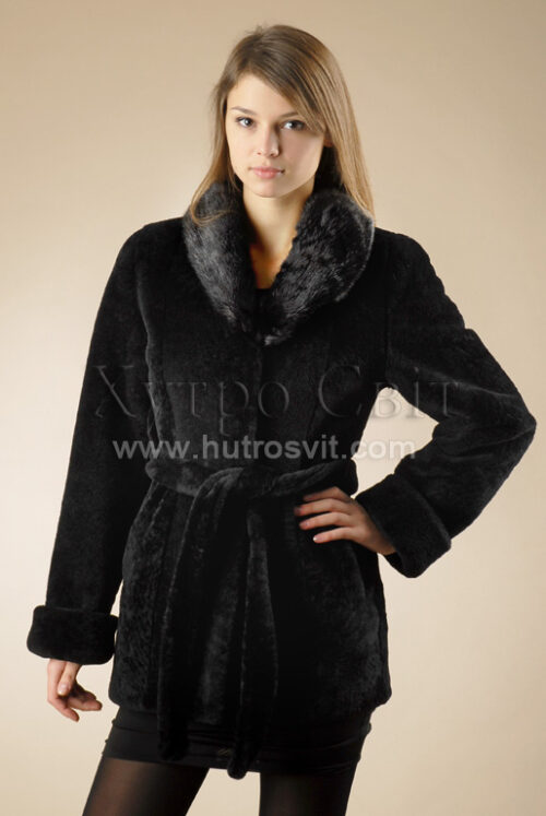 Шубы мутон. Мутоновая курточка-полушубок, шалевый норковый воротник и пояс., фото 1