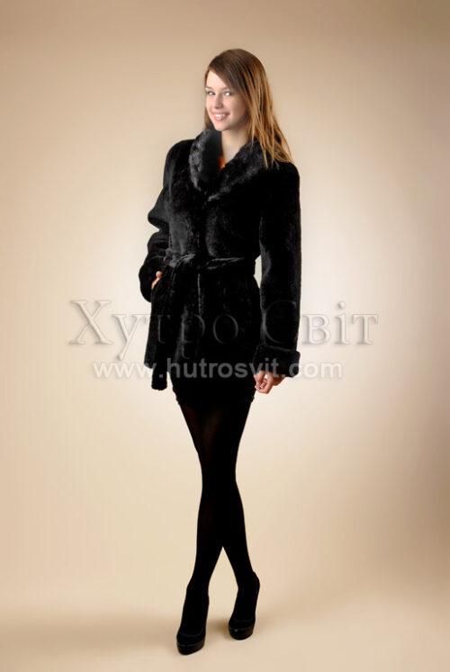 Шубы мутон. Мутоновая курточка-полушубок, шалевый норковый воротник и пояс., фото 2