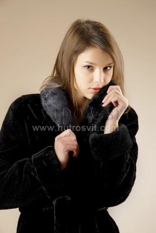 Шубы мутон. Мутоновая курточка-полушубок, шалевый норковый воротник и пояс., фото 4
