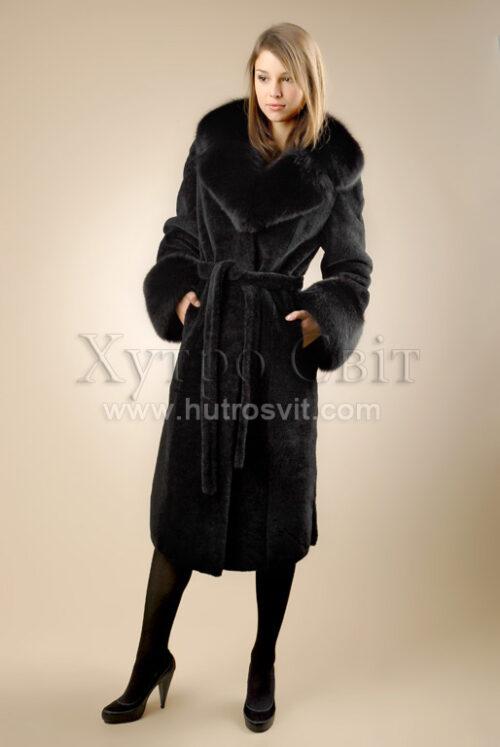 Пальто - мутон, комір - песець, фото 2