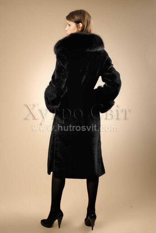 Пальто - мутон, комір - песець, фото 4